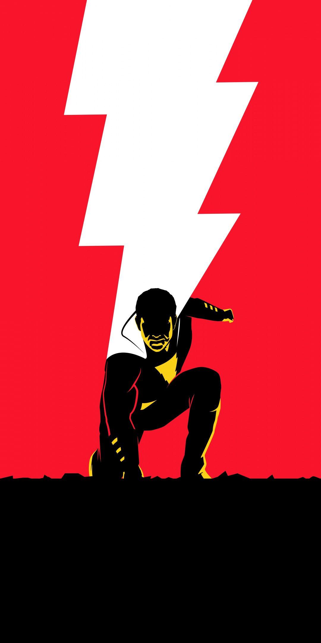 Shazam Movie Minimal Poster 1080x2160 Wallpaper Comics