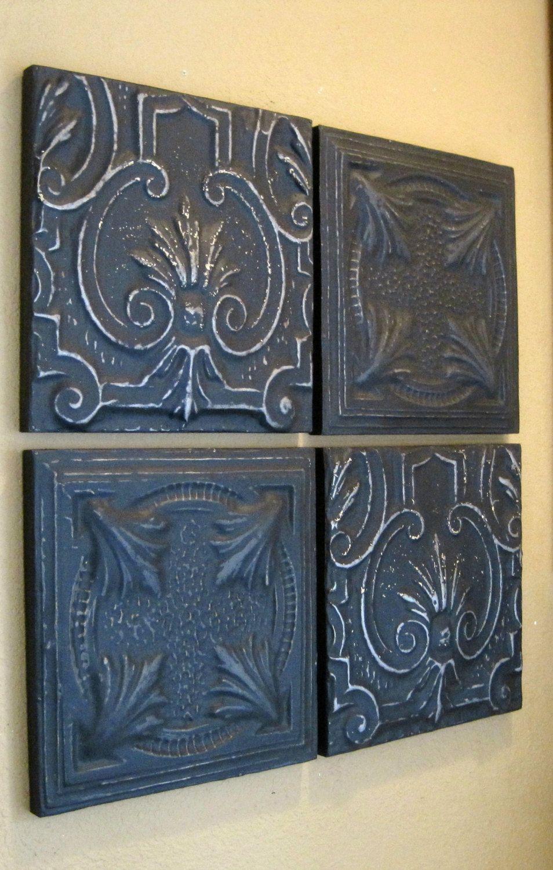 ALL 4 FRAMED Antique Tin Ceiling Tiles. Circa 1900. Nice 2\'x2 ...