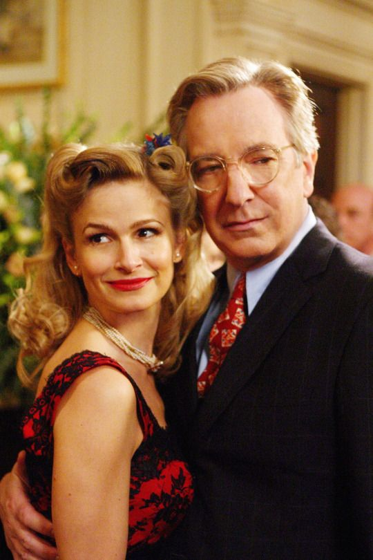 """Alan as Dr Alfred Blalock & Kyra Sedgwick as his wife, Mary Blalock in """"Something the Lord Made"""". 2004"""