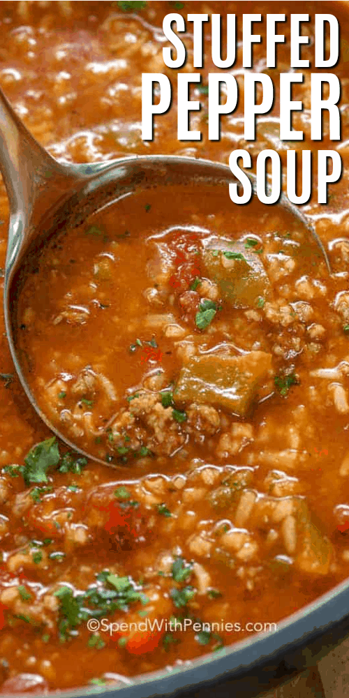 Stuffed Pepper Soup is an easy soup recipe. In this family favorite, ground beef and sausage is simmered along with bell peppers, tomatoes and seasonings. Add in rice to serve. It freezes well and reheats beautifully! #spendwithpennies #stuffedpeppers #stuffedpeppersoup #stuffedgreenpeppersoup #bellpeppersoup #beefandrice #beefandrice