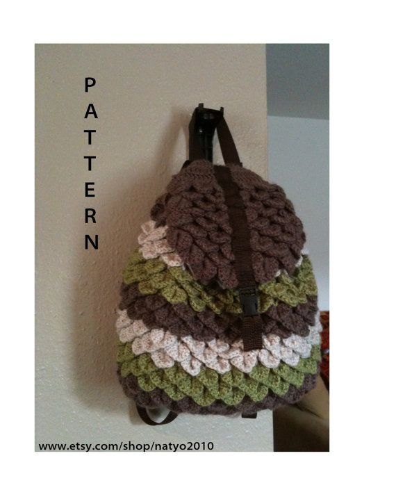 INSTANT DOWNLOAD Crochet Crocodile Backpack - Pattern | Bags ...