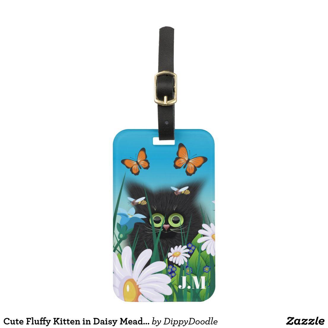 Cute Fluffy Kitten in Daisy Meadow Luggage Tag | Zazzle.com #fluffykittens