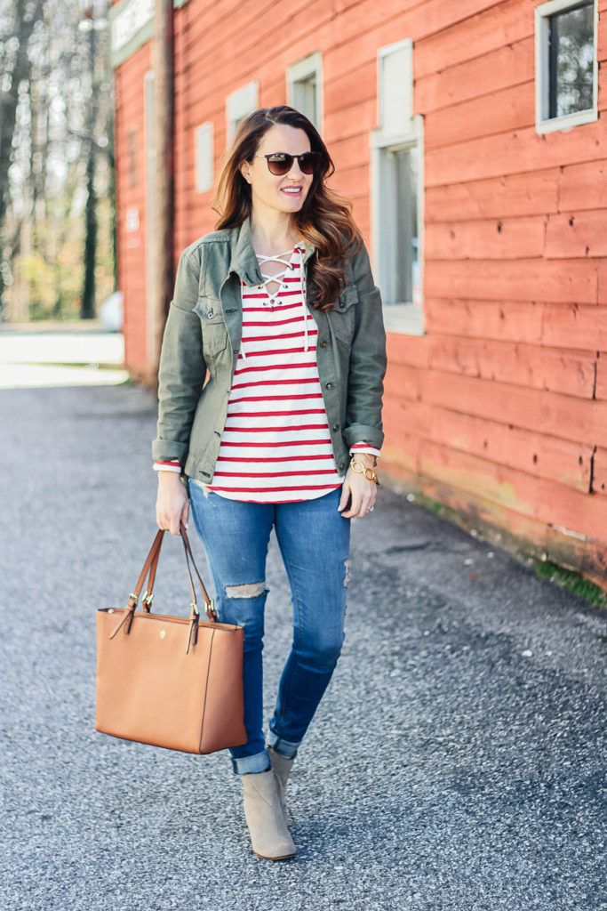 4d1d100f0571c How to dress for early spring via Peaches In A Pod blog. Women's cute  spring outfit ideas.