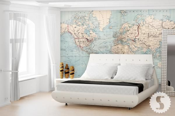 Map of the world wall mural vintage maps reception furniture and map of the world wall mural gumiabroncs Image collections