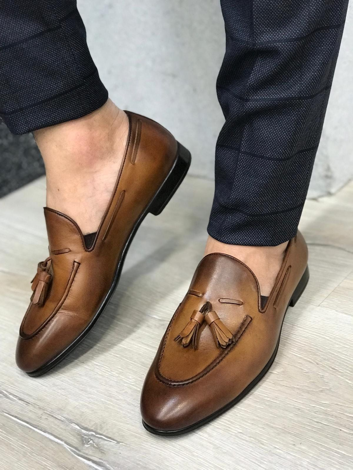 Tassel Leather Brown Loafers | Brown