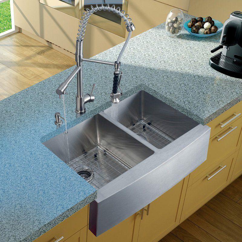 Vigo Platinum VG15085 Double Basin Farmhouse Kitchen Sink and Faucet ...
