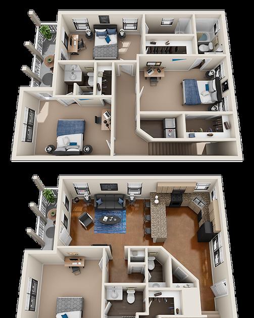 Awesome 4 Bedroom Apartment 3d Floor Plan Wallpaper House Floor Design Home Building Design Sims House Design