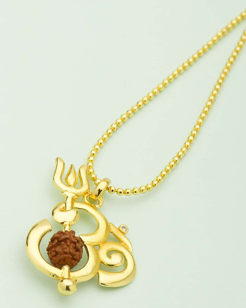 Om pendant decorated with beautiful chain necklace set om pendant decorated with beautiful chain aloadofball Gallery
