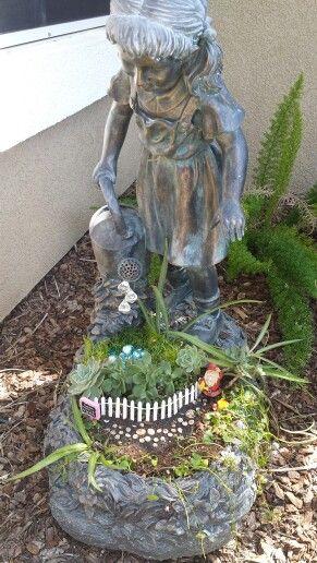 Water fountain turned into a fairygarden