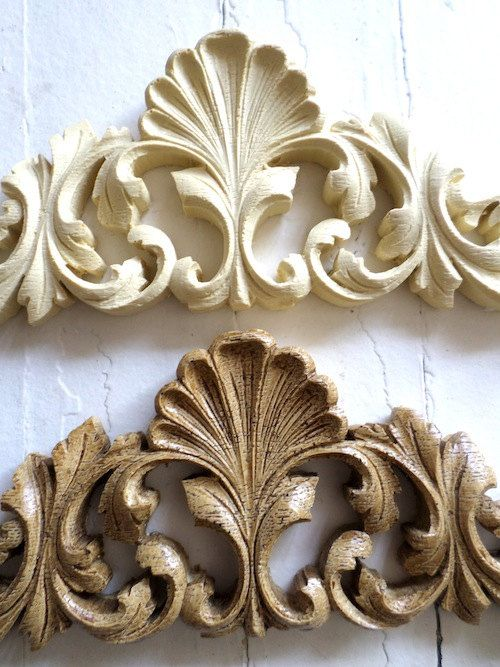 Shabby Chic Victorian Carved Crest Furniture Appliques Wood