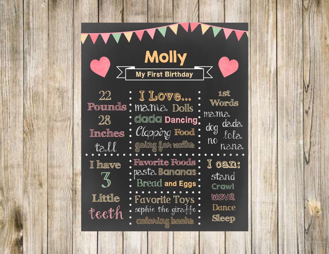 Heart first birthday chalkboard poster digital