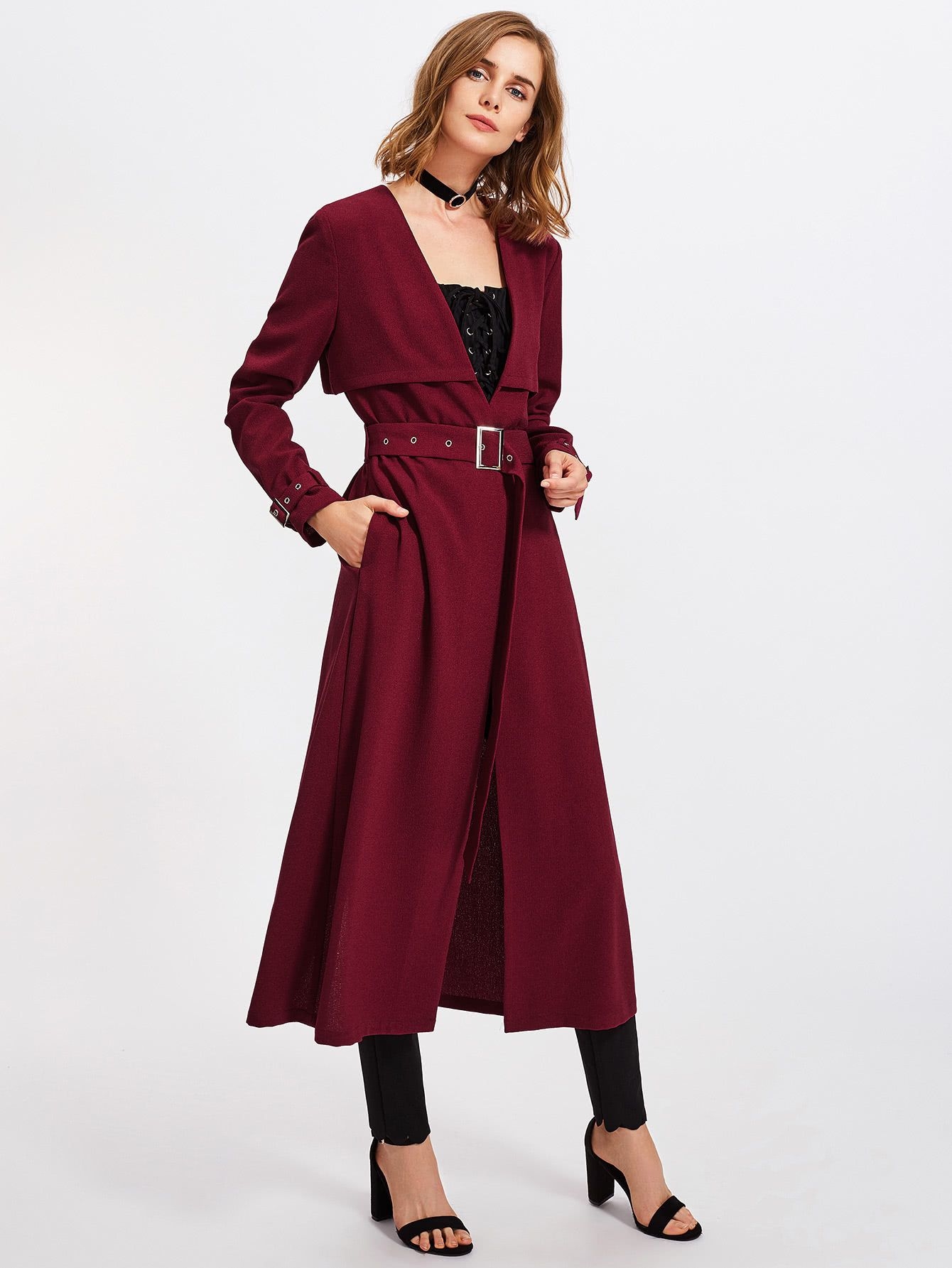 Shop Buckle Belted Waist And Cuff Layered Coat online SheIn offers