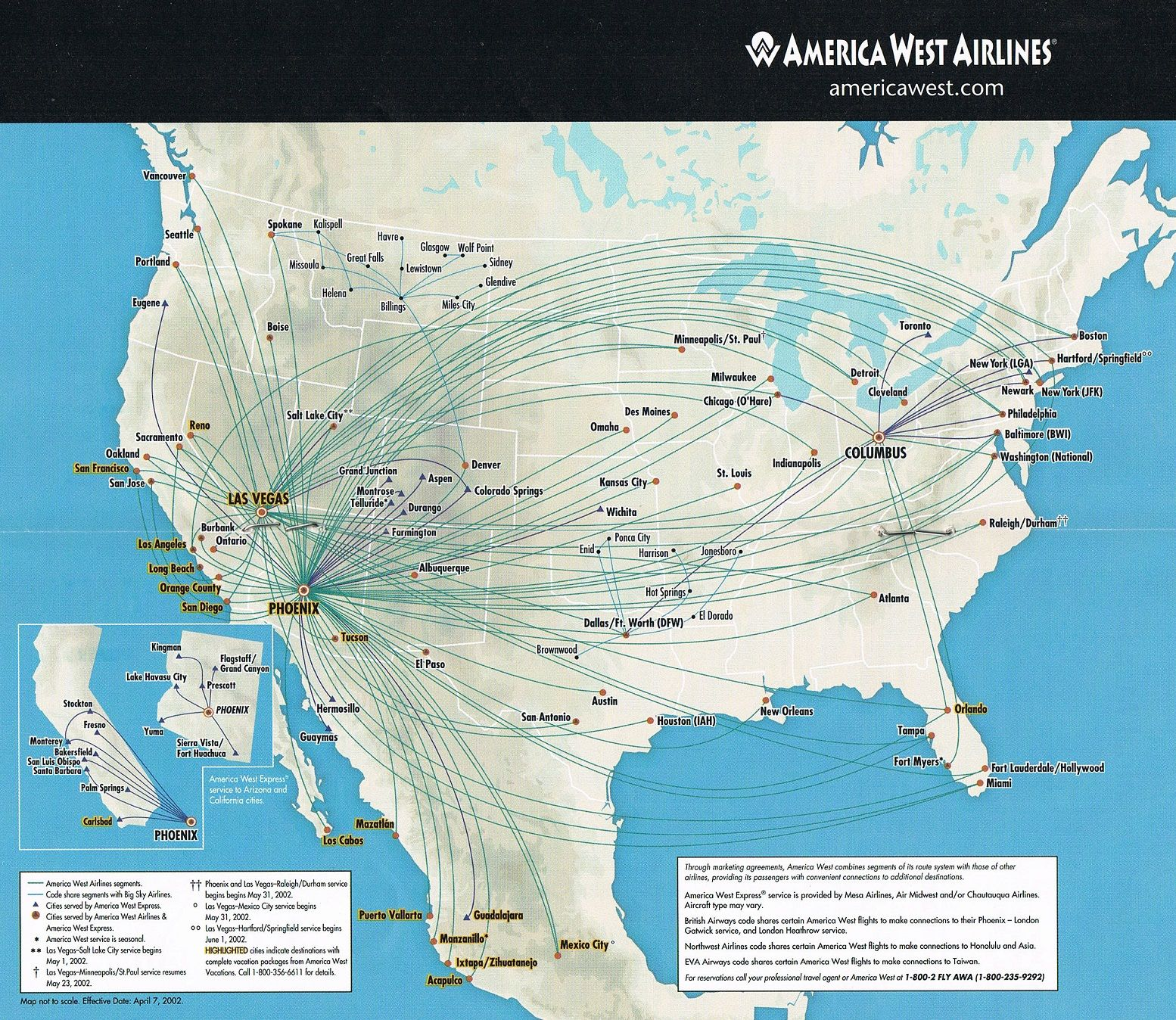 America West Airlines April 7, 2002 Route Map in 2020
