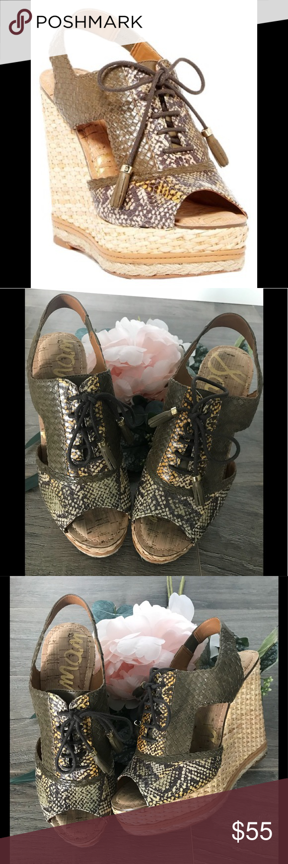 2a7db01e5f9f38 Sam Edelman Tinley Lace Up Wedges  Sam Edelman Tinley Lace-Up Wedge. -  Peep toe - Lace-up vamp with leather tassels - Snakeskin and woven  construction ...