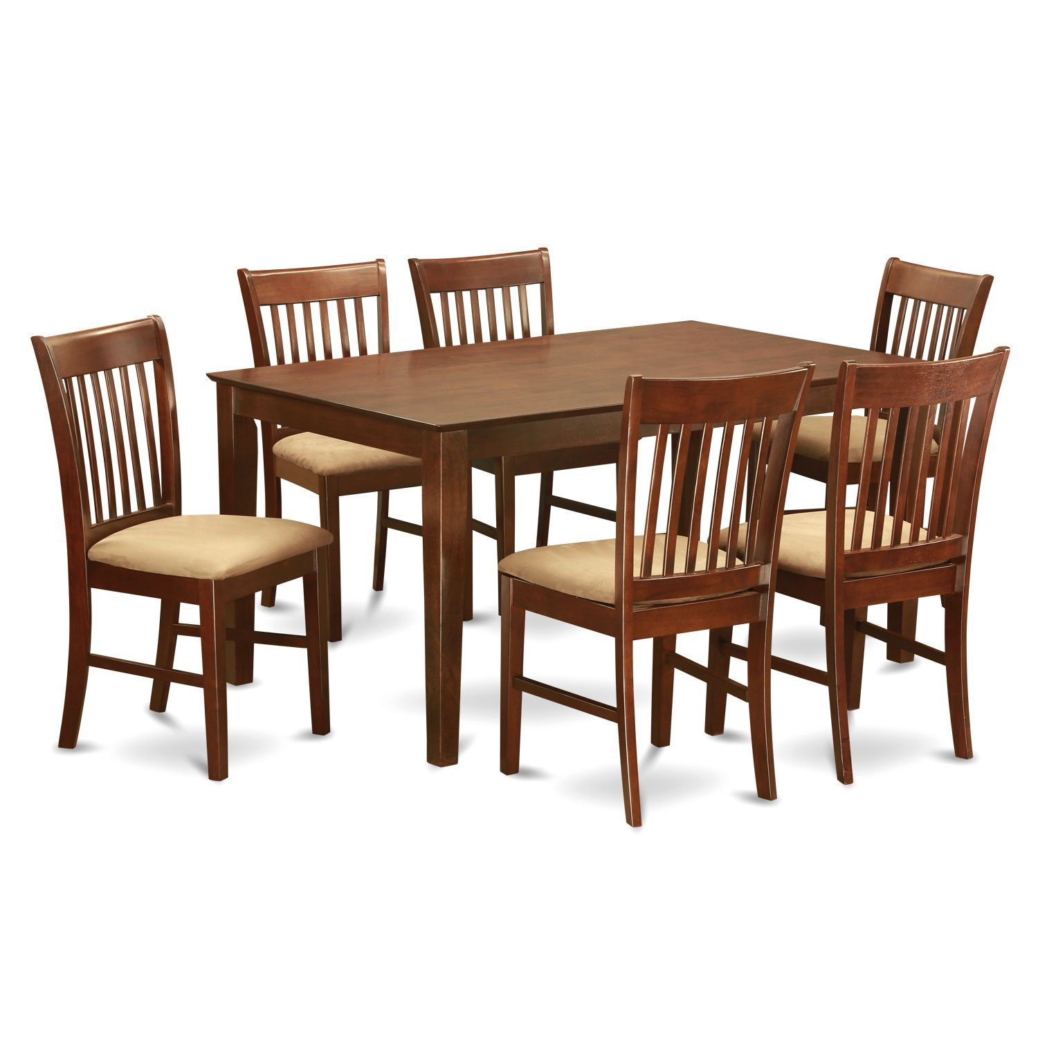 Cano7Mah Mahogany Rubberwood 7Piece Dining Room Table Set Wood Magnificent Dining Room Sets Online Design Inspiration