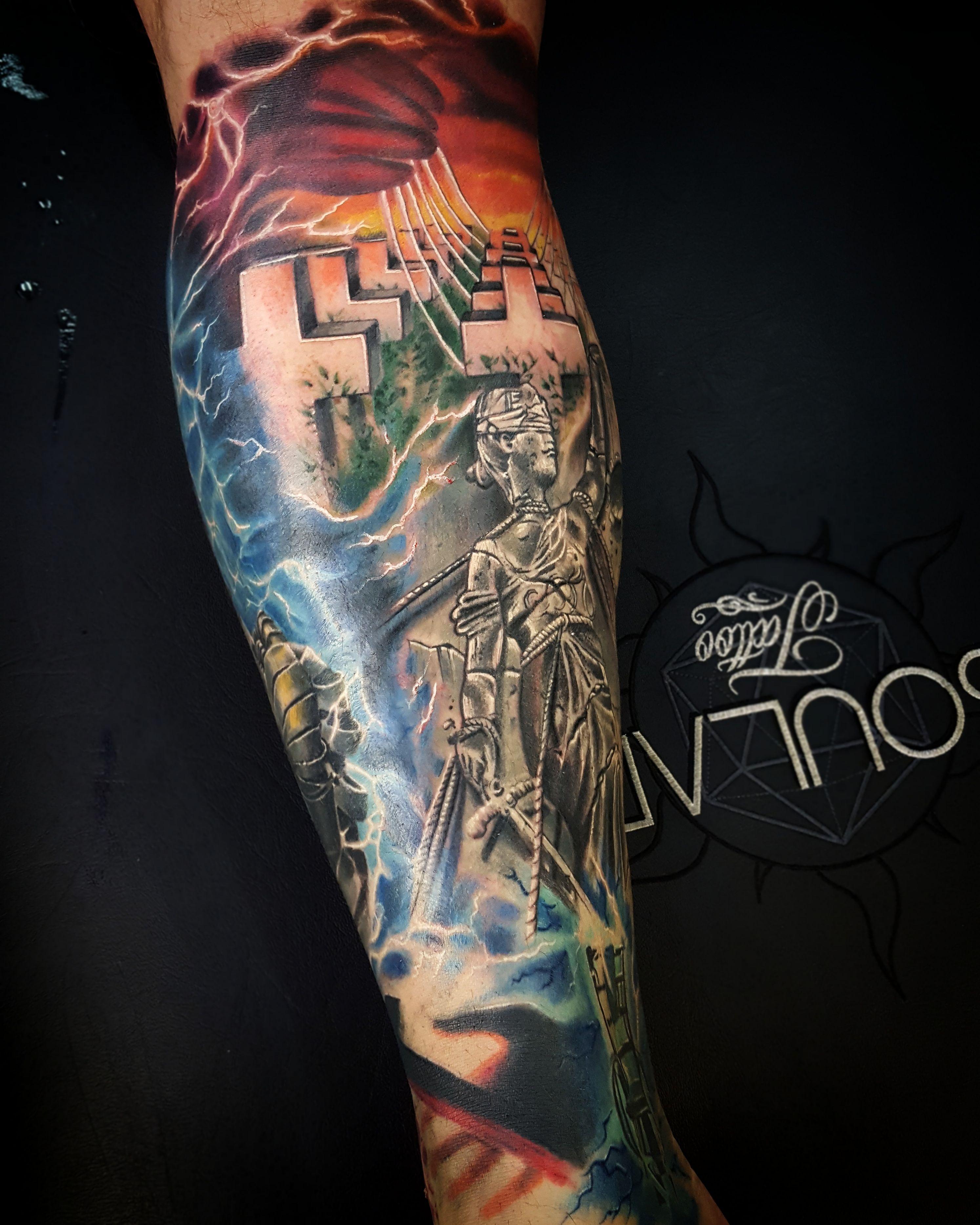 Metallica album cover leg tattoo by matt parkin soular for All in one tattoo