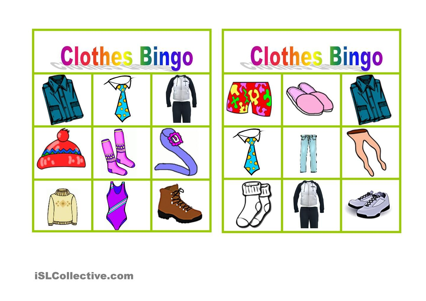 Clothes Bingo Anglictina4 Pinterest Bingo Bingo Games A Clothes
