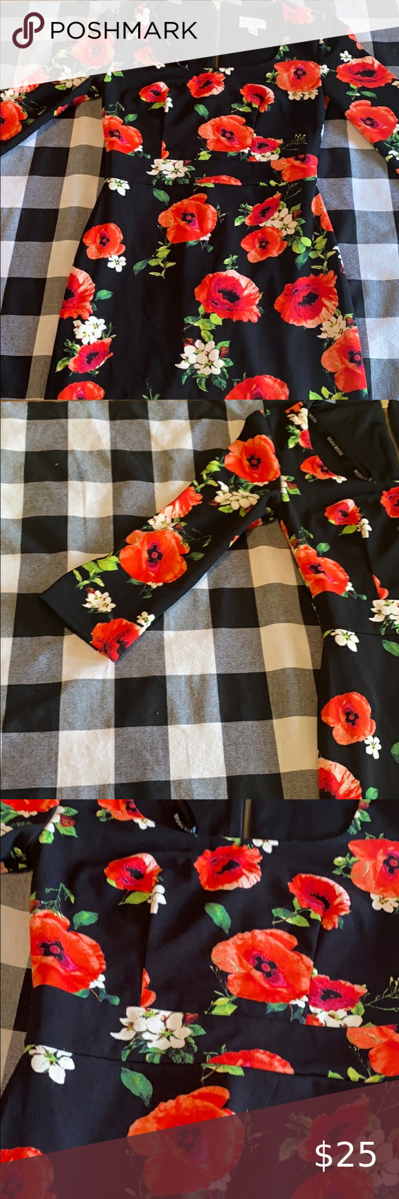Black Dress With Flower Pattern Red And White Flowers Black Dress Cute Black Dress [ 1740 x 580 Pixel ]