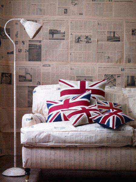 Union Jack, Union Flag, Flag Cushion, Interior Design, Sofa, Home decor, soft furnishings, flags, cool britannia,