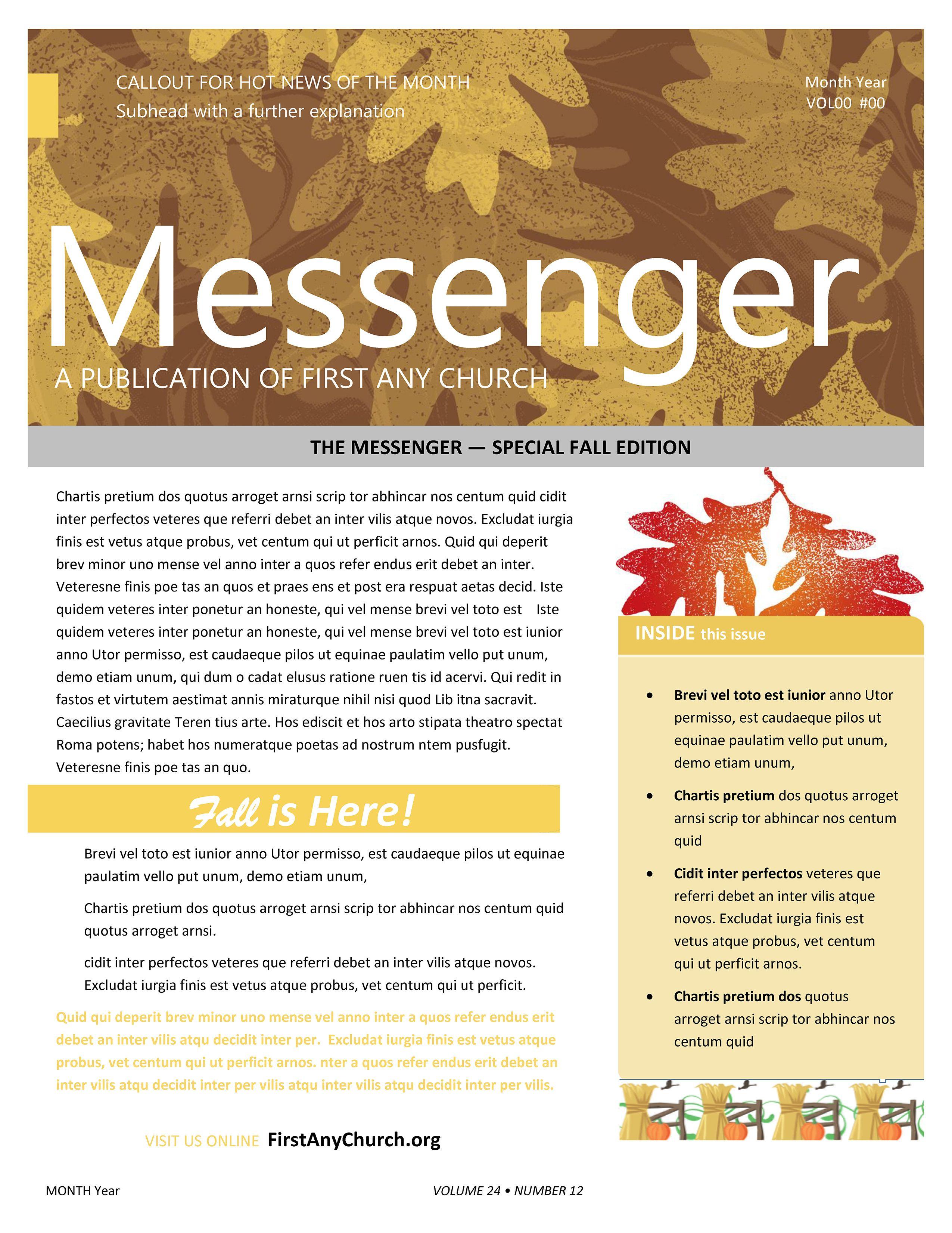 Fall Church Newsletter Template in 2020 Church