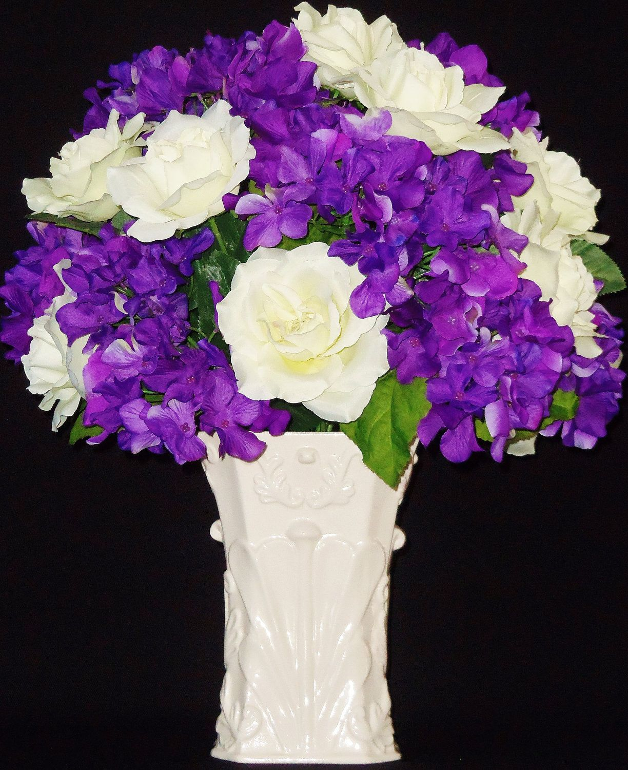 Purple rose flowers request a custom order and have something made artificial flower arrangement white roses purple hydrangea silk flowers silk floral arrangement spring silk flower arrangement via etsy mightylinksfo