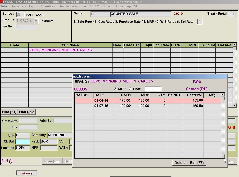 Sales module of general store software from easysol