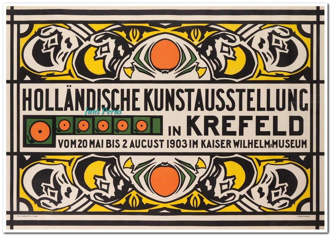 JAN THORN PRIKKER (1868-1932) HOLLÄNDISCHE KUNSTAUSSTELLUNG IN KREFELD. 1903. 33 1/2x47 3/4 inches, 85x121 1/4 cm. S. Lankhout & Co., The Hague.