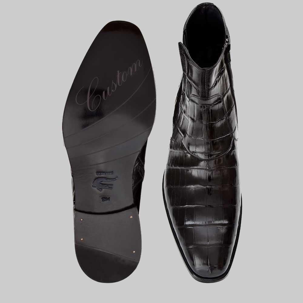 b9476cb8340 Mezlan Belucci Shoes Black Exotic Alligator Boots (MZ2049)