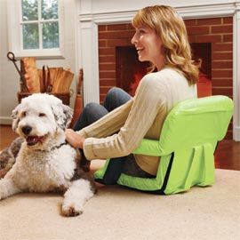 Portable Recliner with Armrests turns the floor into comfortable seating.  This would be great for studying and gaming.
