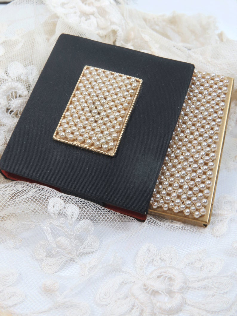 Powder Compact & Carrying Case by Schildkraut, Pearl