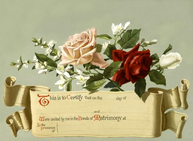 fancy marriage certificate vintage image nook family trees