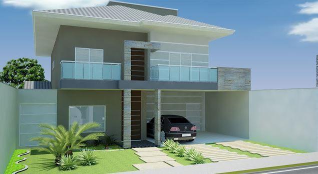 Fachadas de casas modernas de dos plantas sencillas Fachadas de casas dos plantas modernas
