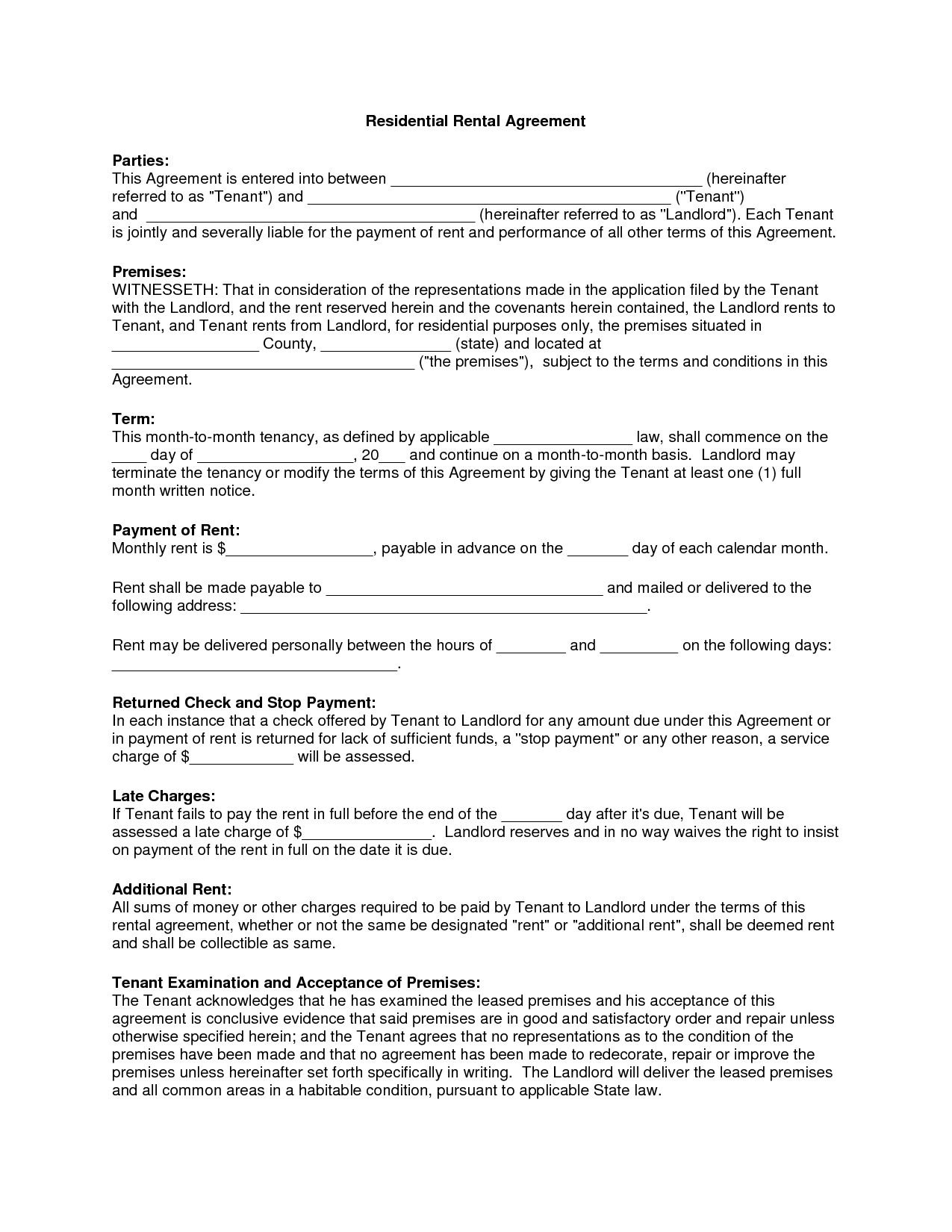 Free Copy Rental Lease Agreement Residential Rental