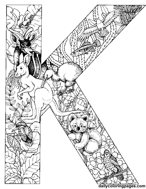 K is for koala coloring page