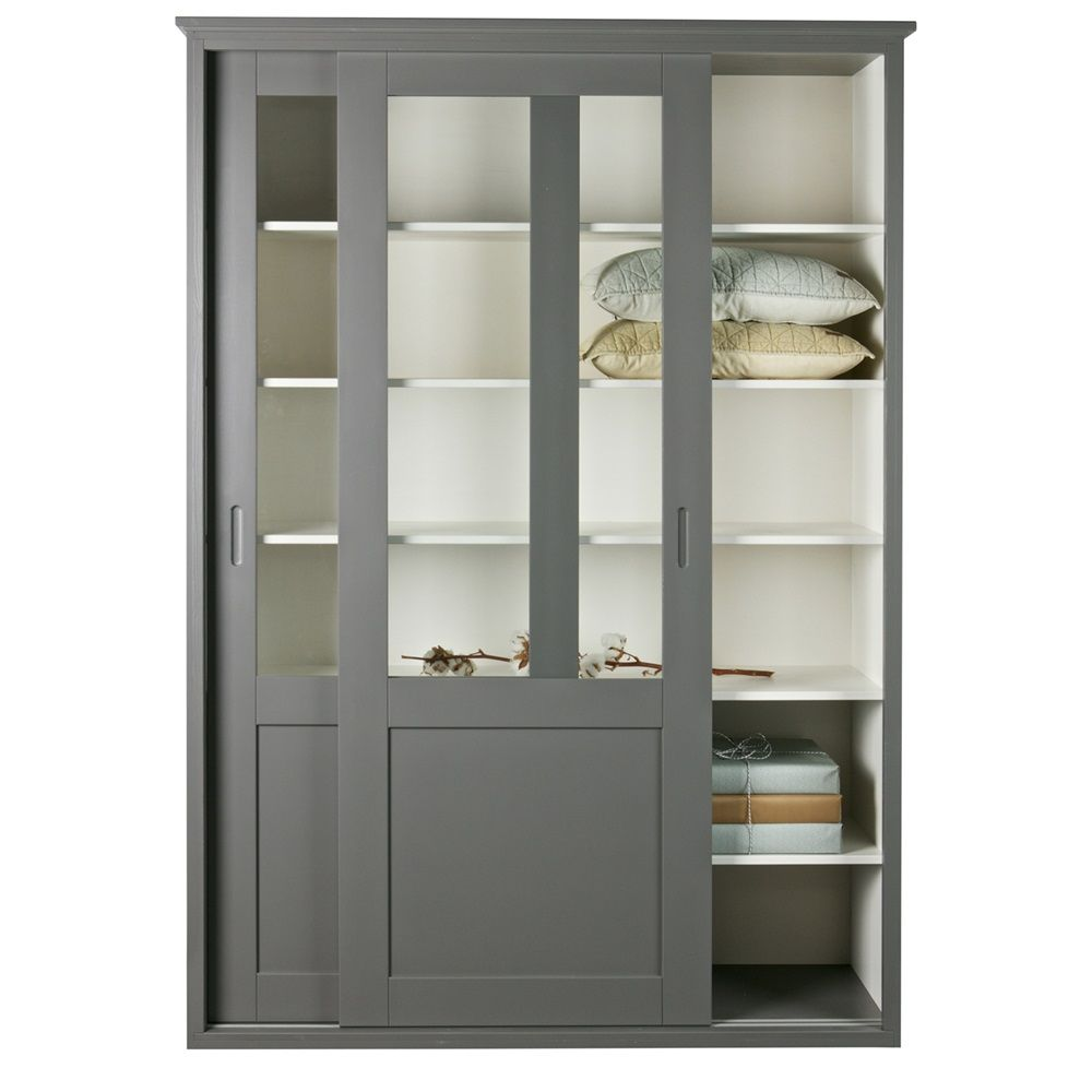 Vince Display Cabinet With Sliding Doors In Grey By Woood Display Cabinet Cabinet Furniture #tall #living #room #cabinets #with #doors