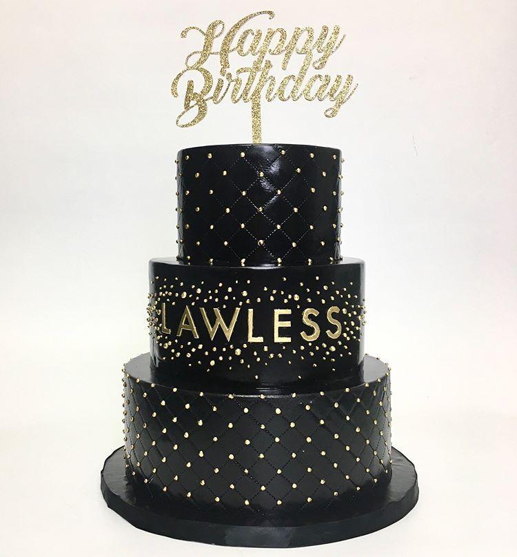 Deliciousarts Birthday Birthdaycake Cake Lawless Blackandgold Losangeles