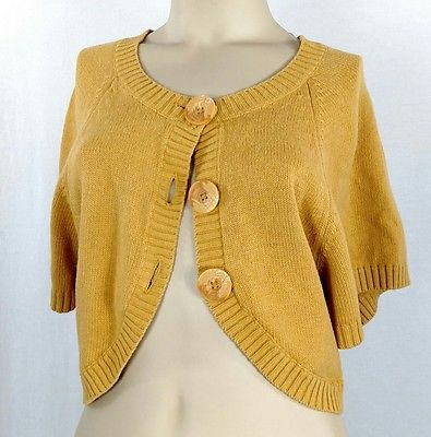 ELLE knit bolero shrug cardigan sweater. Mustard yellow. Women's ...
