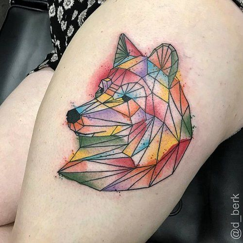 Geometric wolf for Laura. #selfinflictedstudios #selfinflicted #stpeters #saintpeters #stl #saintlouis #stlouis #tattoo #tattoos #art #artist #ink #guyswithtattoos #girlswithtattoos #blackandgrey #blackandgreytattoo #geometrictattoo #geometrictattoos #geometric #wolf #wolftattoo #watrrcolor #watercolortattoo