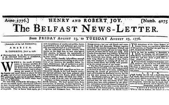 5 Irish Facts About Independence Day You May Not Know Irishcentral Com Newspaper Cover Old Newspaper Newspapers