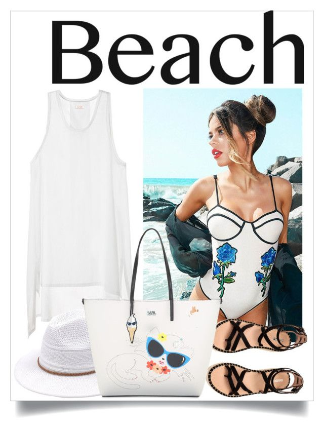"""""""Beach day"""" by neringa-ltu ❤ liked on Polyvore featuring Karl Lagerfeld, beach, beachhair and beachtotes"""