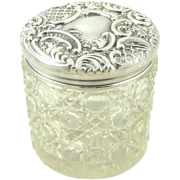 Antique Sterling Silver & Crystal Dresser Vanity Jar Circa