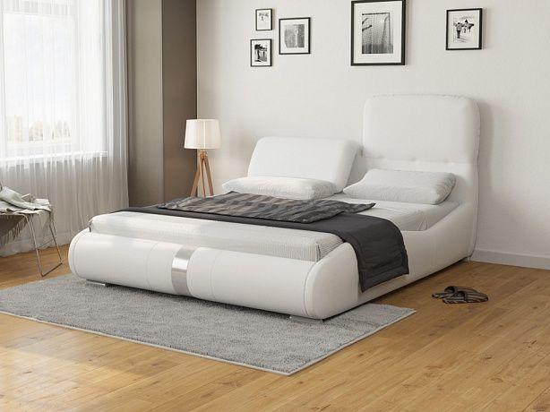 кровать лукка двуспальная белая экокожа кровати Bed
