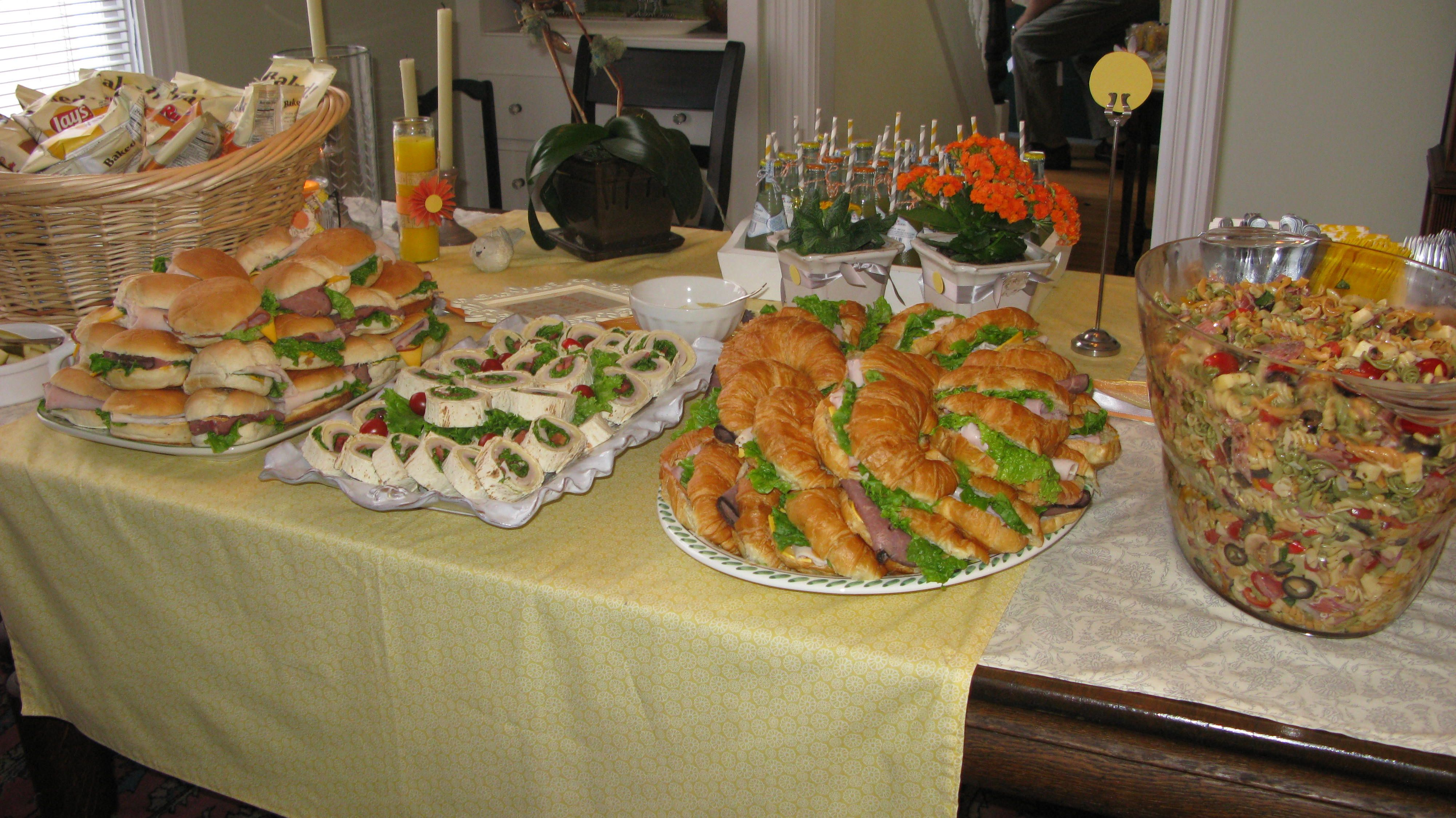 baby shower luncheon: homemade pasta and sandwich platters ...