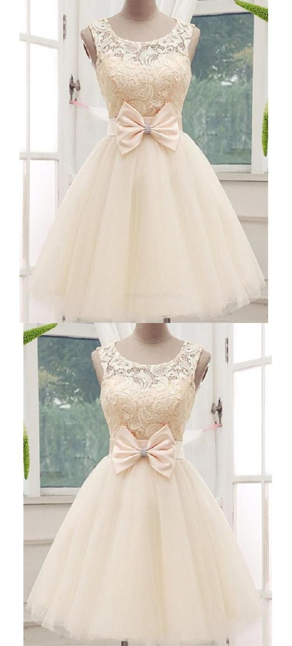 Sleeveless champagne cheap lace adel short homecoming