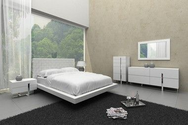 Modern White Queen Bedroom Set With Bed Nightstands Dresser Mirror White Bedroom Modern White Bedroom Set White Gloss Bedroom