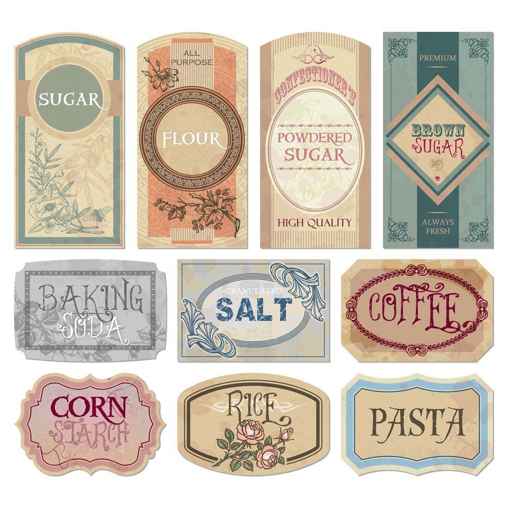 Free printable vintage labels for jars and canisters to organize your pantry