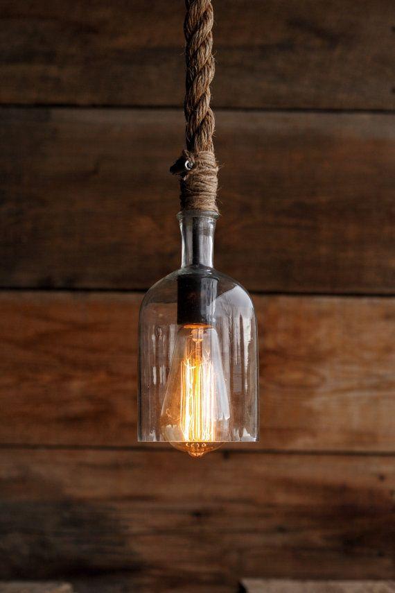 The Cast Away Pendant Light Glass Bottle Industrial Rope Bottle
