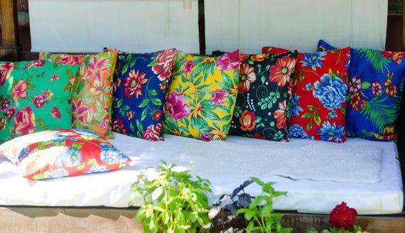 Brazilian Chita Pillow Cover | 20x20 Pillow | Floral Pillow | Red Pillow | Green Pillow | Boho Pillow | Rustic Pillow | Decorative Pillow