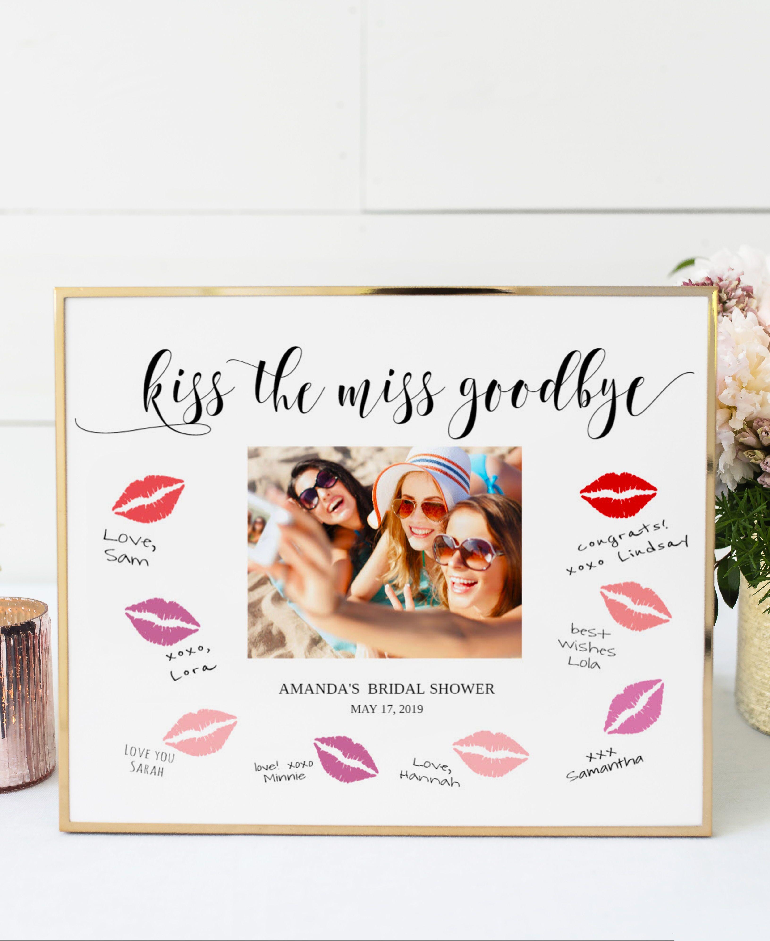 Kiss The Miss Goodbye Frame Printable Template Bridal Shower Etsy Bridal Shower Signs Bachelorette Party Bridal Shower