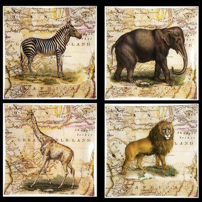 vintage safari africa decor | John Derian Decoupage AFRICA SAFARI plates. These…                                                                                                                                                                                 Más
